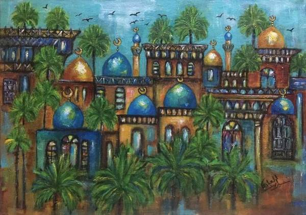 Baghdad Painting - Turquoise by Siran Ajel