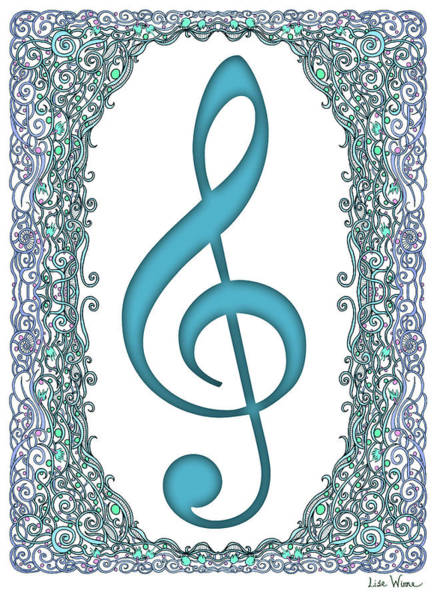 Digital Art - Turquoise Treble Clef With Turquoise And Blue Border by Lise Winne