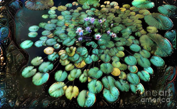 Lilly Pad Digital Art - Turquoise Waterlilies 2 by Amy Cicconi