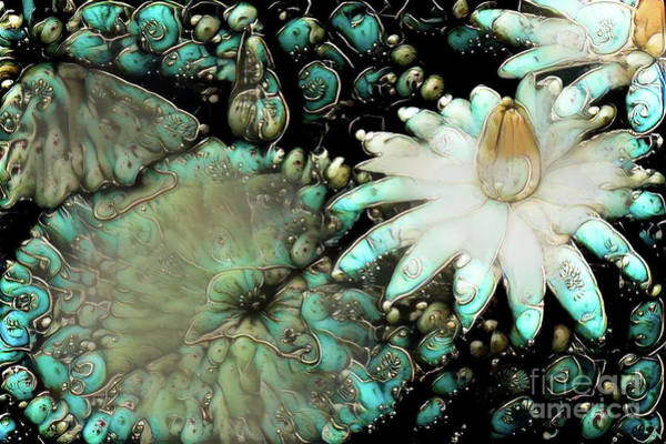 Lilly Pad Digital Art - Turquoise Waterlilies 3 by Amy Cicconi