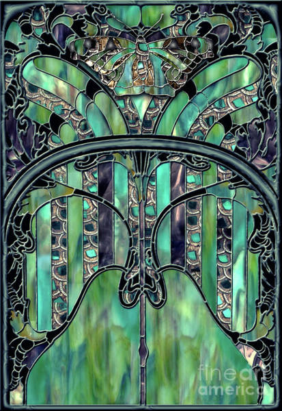 Leaded Glass Painting - Turquoise Window Jewels by Mindy Sommers