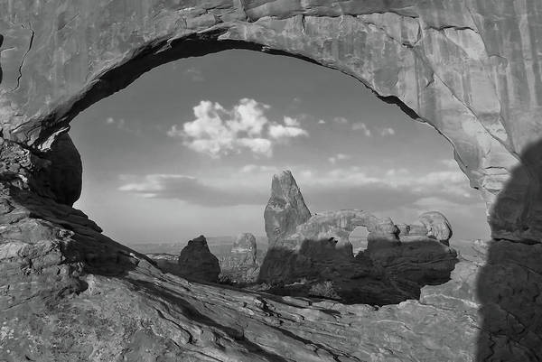 Photograph - Turret Arch And North Window - Arches National Park - Black White by Gregory Ballos