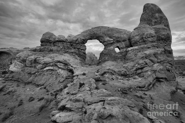 Photograph - Turret Arch Black And White Winter Sunset by Adam Jewell