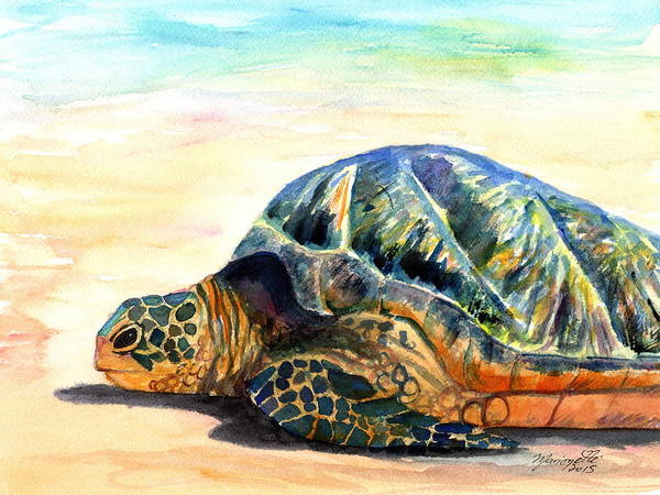 Painting - Turtle At Poipu Beach 8 by Marionette Taboniar