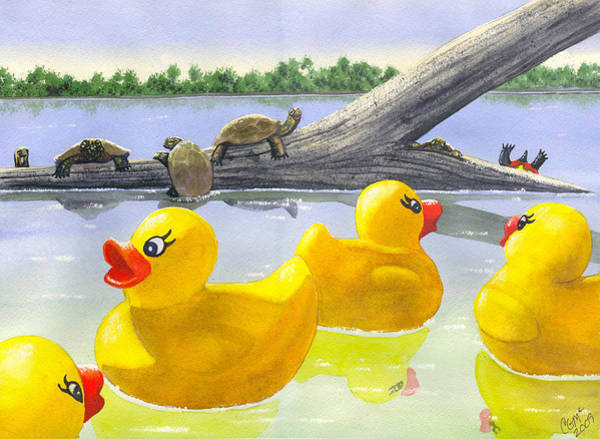Wall Art - Painting - Turtle Log by Catherine G McElroy