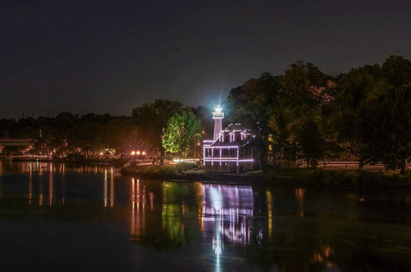 Photograph - Turtle Rock Lighthouse At Night - Boathouse Row by Bill Cannon