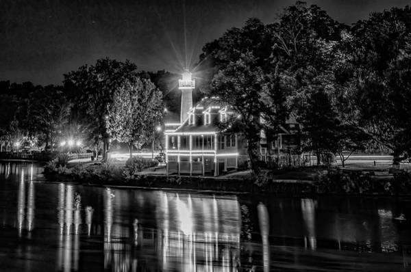 Photograph - Turtle Rock Lighthouse - Black And White Night On The Schuylkill by Bill Cannon