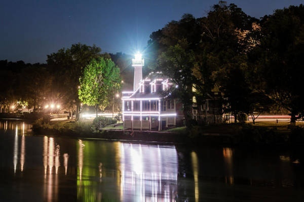 Photograph - Turtle Rock Lighthouse - Night On The Schuylkill by Bill Cannon