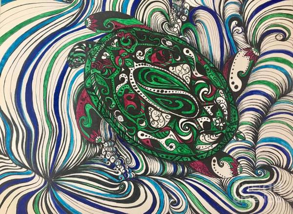 Drawing - Turtle Time All Alone by Mastiff Studios