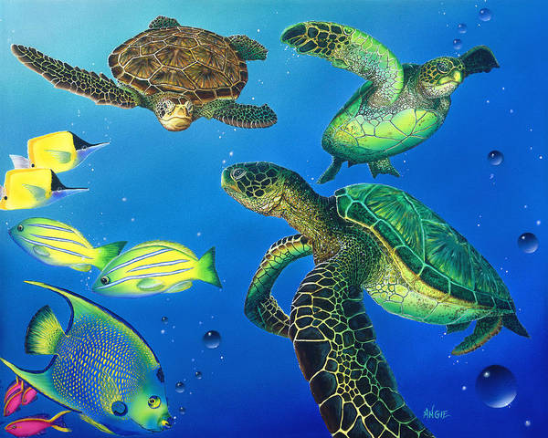 Wall Art - Painting - Turtle Towne by Angie Hamlin