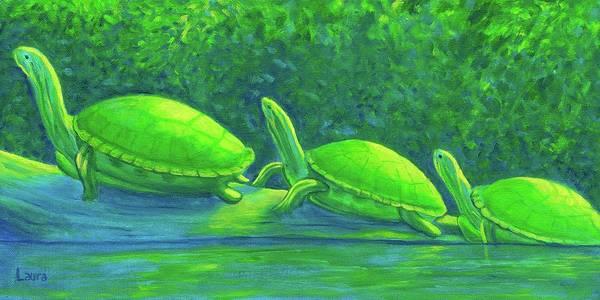 Wall Art - Painting - Turtle Trio by Laura Zoellner
