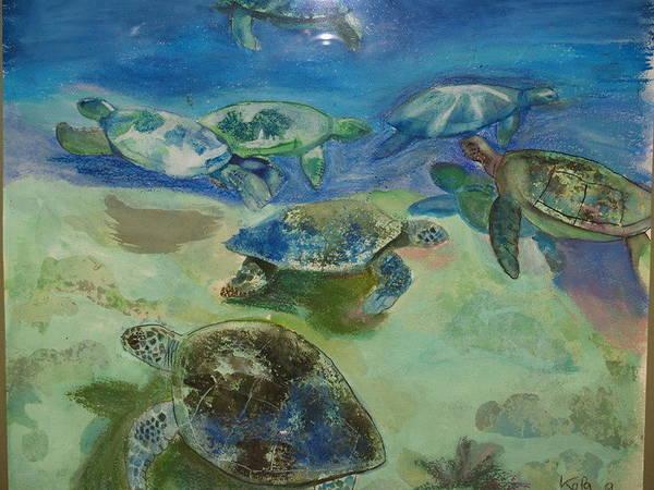 Turtles Art Print by Aline Kala