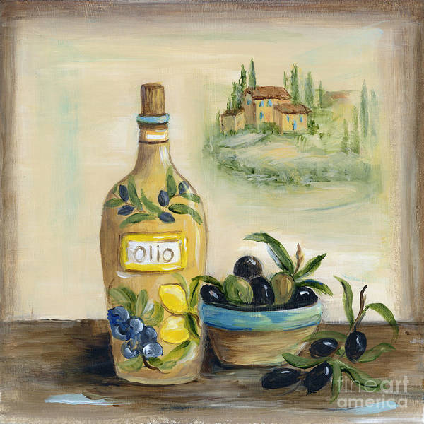 Ceramics Wall Art - Painting - Tuscan Olive Oil With View by Marilyn Dunlap
