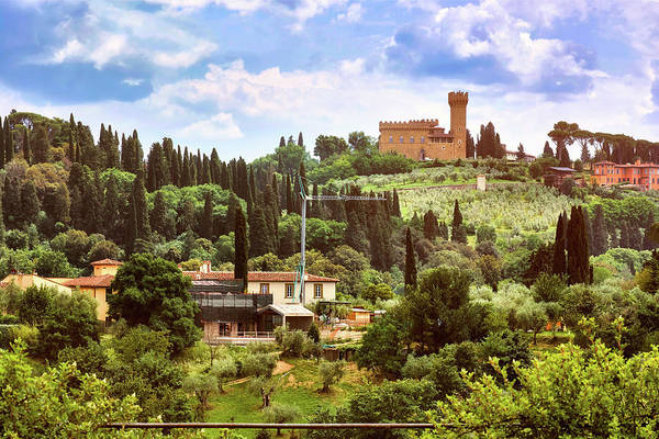Photograph - Tuscan Fields And Old Castle In Florence, Italy by Fine Art Photography Prints By Eduardo Accorinti