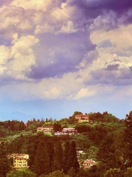 Photograph - Buildings On The Mountains And Cloudy Sky In Florence, Italy by Fine Art Photography Prints By Eduardo Accorinti