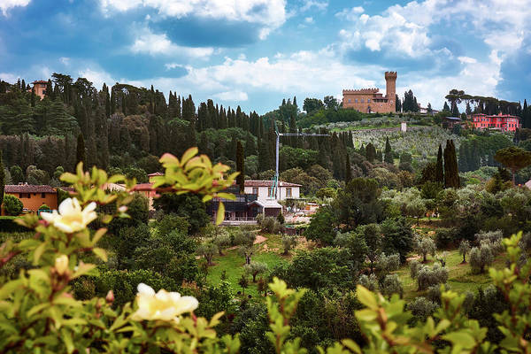 Photograph - Flowers And Castle From The Garden Of The Knight In Florence, Italy by Fine Art Photography Prints By Eduardo Accorinti
