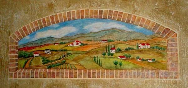 Painting - Tuscan Scene Brick Window by Anita Burgermeister