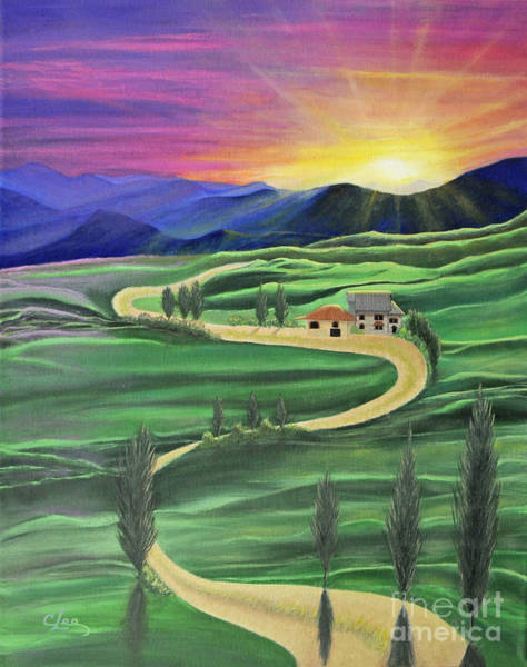 Wall Art - Painting - Tuscan Sunset by Cindy Lee Longhini