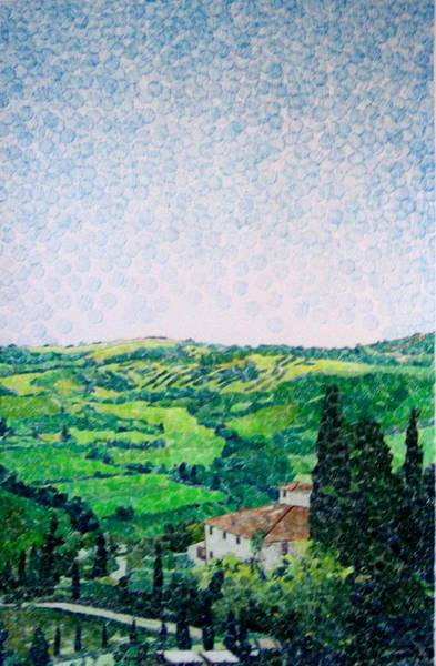 Organic Drawing - Tuscan View by Jason Charles Allen