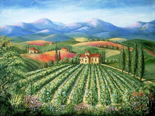 Wall Art - Painting - Tuscan Vineyard And Abbey by Marilyn Dunlap