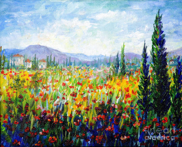 Wall Art - Painting - Tuscany Fields by Lou Ann Bagnall