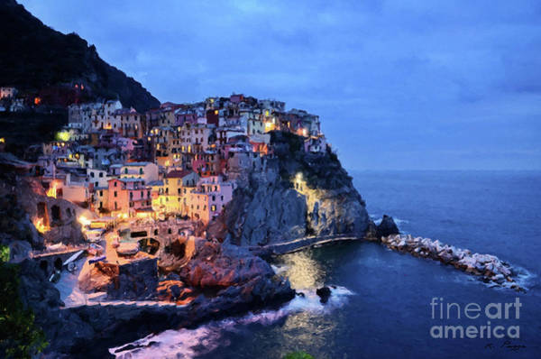 Tuscany Like Amalfi Cinque Terre Evening Lights Art Print