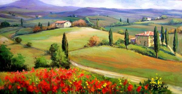 Wall Art - Painting - Tuscany Panorama by Bruno Chirici