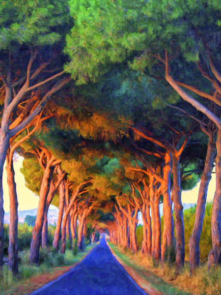 Wall Art - Painting - Tuscany Tree Tunnel by Dominic Piperata