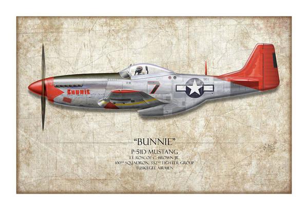 Wall Art - Digital Art - Tuskegee Airmen P-51 Mustang - Map Background Art Print by Craig Tinder