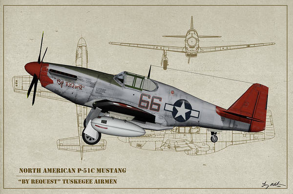 Wall Art - Digital Art - Tuskegee P-51b By Request - Profile Art by Tommy Anderson
