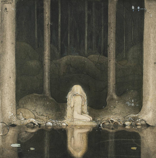 Troll Wall Art - Painting - Tuvstarr Is Still Sitting There Wistfully Looking Into The Water by John Bauer