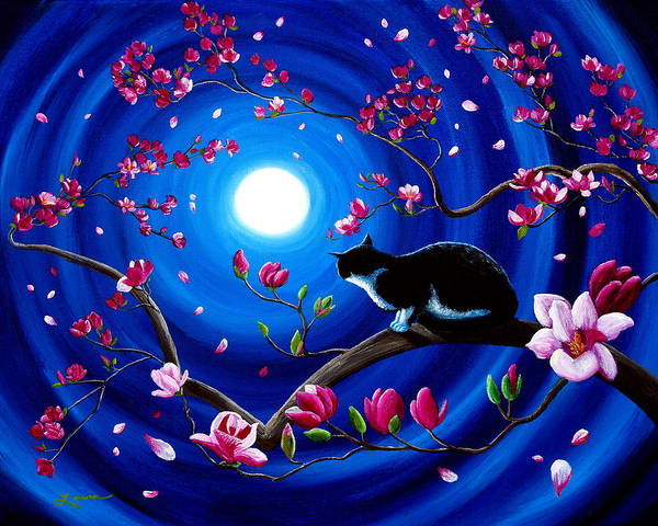 Moon Black White Wall Art - Painting - Tuxedo Cat In A Japanese Magnolia Tree by Laura Iverson