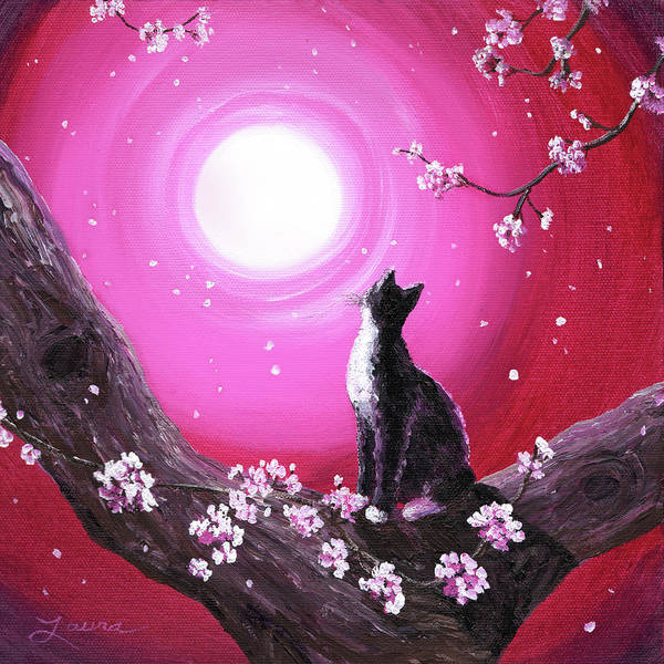 Tuxedo Cat Painting - Tuxedo Cat In Cherry Blossoms by Laura Iverson