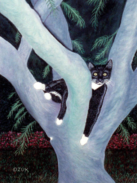 Painting - Tuxedo Cat In Mimosa Tree by Karen Zuk Rosenblatt