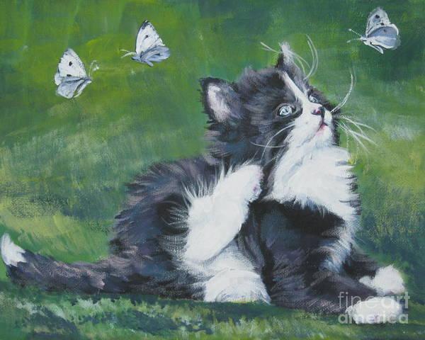 Tuxedo Cat Painting - Tuxedo Kitten by Lee Ann Shepard