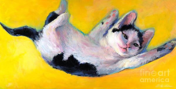 Tuxedo Cat Painting - Tuxedo Kitten Painting by Svetlana Novikova