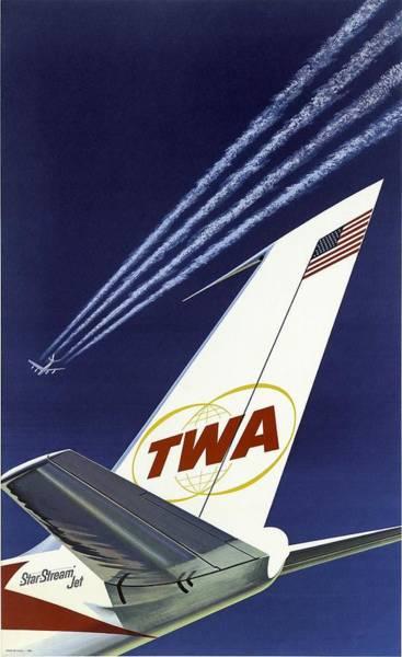 Wall Art - Painting - Twa Star Stream Jet - Minimalist Vintage Advertising Poster by Studio Grafiikka