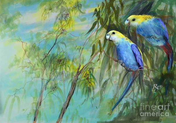 Painting - Two Pale-faced Rosellas by Ryn Shell