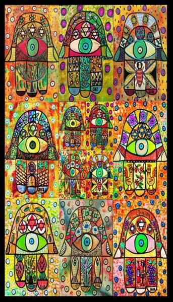 Shofar Wall Art - Painting - Twelve Hamsas by Sandra Silberzweig