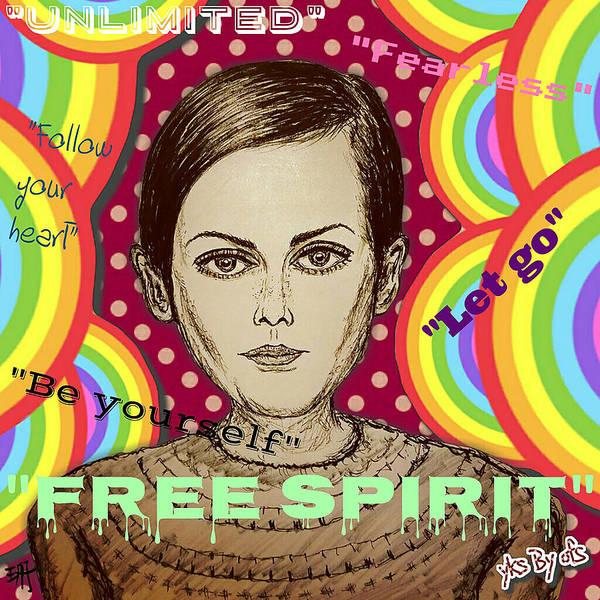 Dope Mixed Media - Twiggy - Free Spirit by Evelyn Yu
