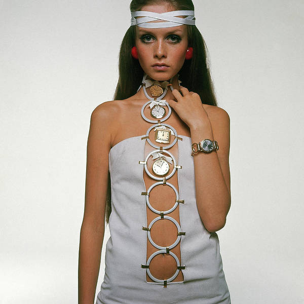 Photograph - Twiggy Modeling Watches by Bert Stern