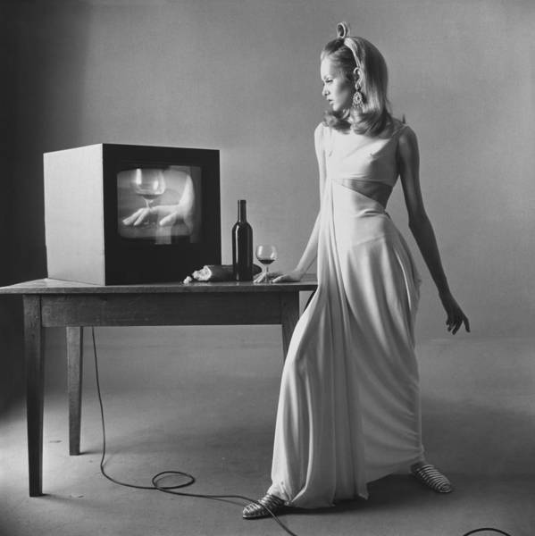 Wine Bottle Photograph - Twiggy With Television Monitor by Bert Stern