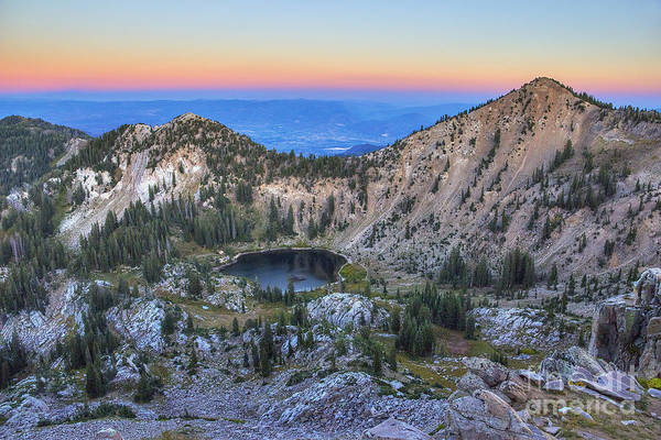 Photograph - Twilight At Sunset Peak And Lake Catherine As Viewed From Mount Tuscarora by Spencer Baugh