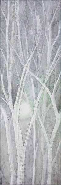 Snow Scene Painting - Twilight In Gray II by Shadia Derbyshire