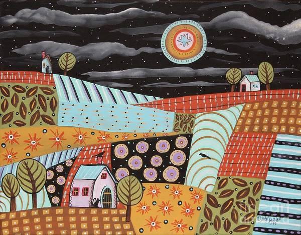 Blackbirds Painting - Twilight Moon by Karla Gerard