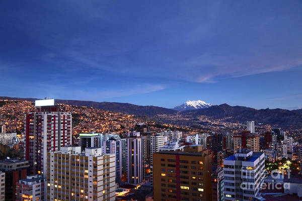 Photograph - Twilight Over Downtown La Paz Bolivia by James Brunker