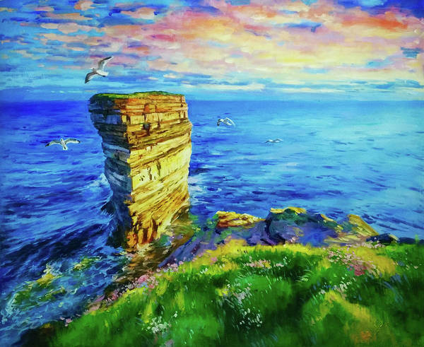 Foaming Wall Art - Painting - Twilight Over Dun Briste by Conor McGuire