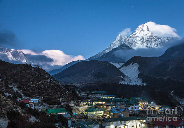 Twilight Over Pangboche In Nepal Art Print