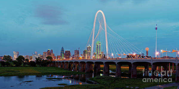 Juxtaposition Photograph - Twilight Panorama Of Downtown Dallas Skyline From Trinity River Overlook - Dallas Texas by Silvio Ligutti