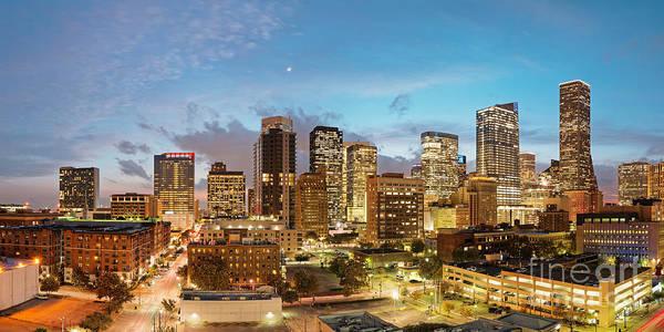 Photograph - Twilight Panorama Of Downtown Houston Skyline 2017- Harris County Texas by Silvio Ligutti